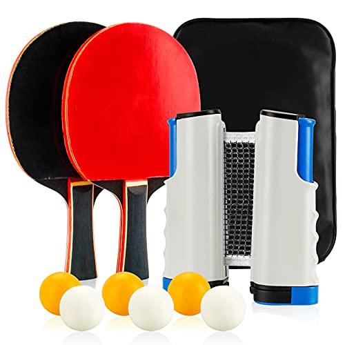 Infreecs Juego de ping pong de mesa, juego con 2 palas, 6 pelotas de ping pong, 1 red extensible y bolsa de transporte, juego profesional ideal para principiantes familias y profesionales