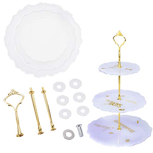 3 Tier Cake Stand Large Silicone Resin Tray Molds with Sides, DIY Art Fruit Plate Mold