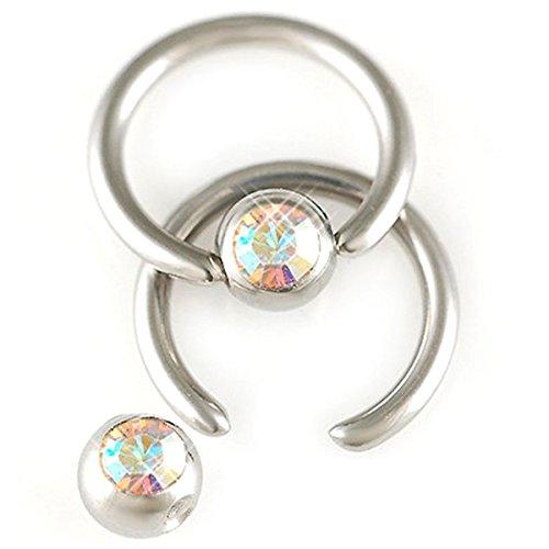 bodyjewelrytrend 2er Set 1,2mm 6mm Lippenbändchen Stahl Klemmring Ohr Piercing Kristall Körperschmuck BCR Ball Closure BFWA