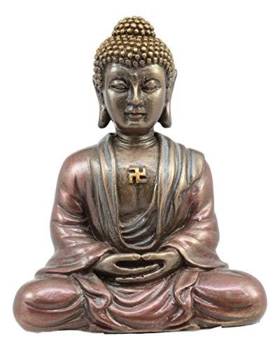 Ebros Shakyamuni Buddha with Swastika Amulet Meditating Small Statue Decorative Talisman Figurine Eastern Enlightenment Buddhism Siddhartha Gautama
