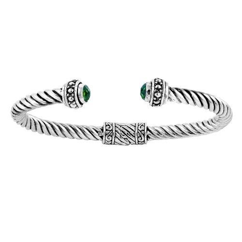 Pulsera de plata de ley con cuarzo verde AB-1031-GQ