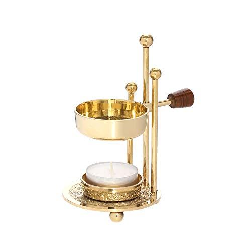 NKlaus Verstellbarer Weihrauchbrenner mit Holzgriff Messing Gold Weihrauchständer 1524