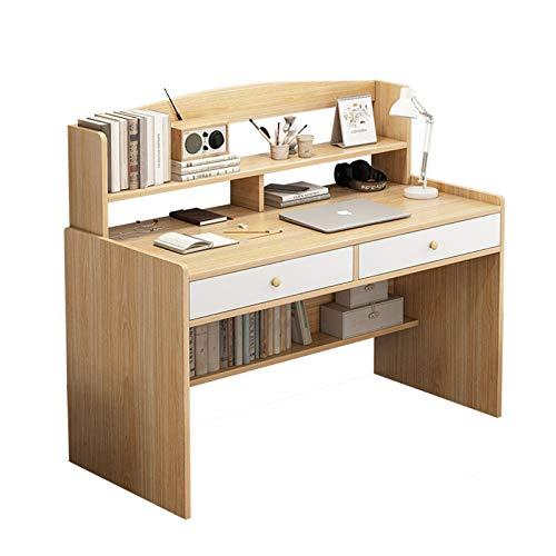 AEF Mesa De Ordenador con 2 Cajones, Mesa De Escritorio Moderno para Estudio Oficina, Compartimento Abierto, para Hogar Estudio Oficina Esquina,80CM