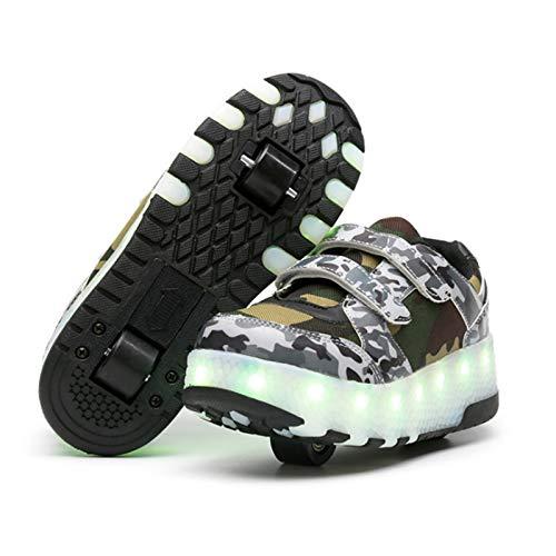 WOFEI Zapatos con Ruedas Zapatillas con Dos Ruedas para Niños Y Niña Led Luces Zapatillas con Ruedas Se Puede Bambas con Ruedas Carga con USB Automática Calzado De Skateboarding,28