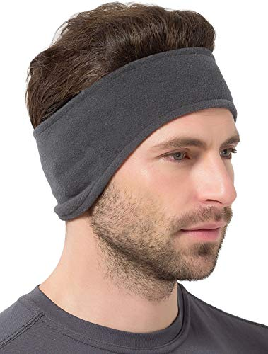 Ear Warmer Headband - Winter Fleece Ear Cover for Men & Women - Warm & Cozy Cold Weather Ear Muffs for Running, Cycling, Sports & Daily Wear - Soft & Stretchy Earmuffs - Ear Band (Charcoal Gray)