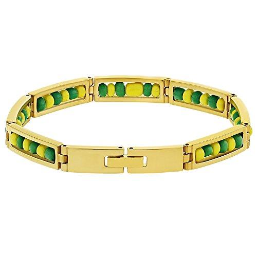 In Season Jewelry - Acero Inoxidable Orula Brazalete Verde y Amarillo Amuelto de Protección 20cm