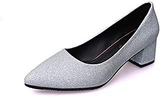 [CYASTAL] キラキラハイヒールパンプスピンヒール結婚式二次会走れるローヒールレディースヒール5cmオフィス歩きやすい美脚痛くない