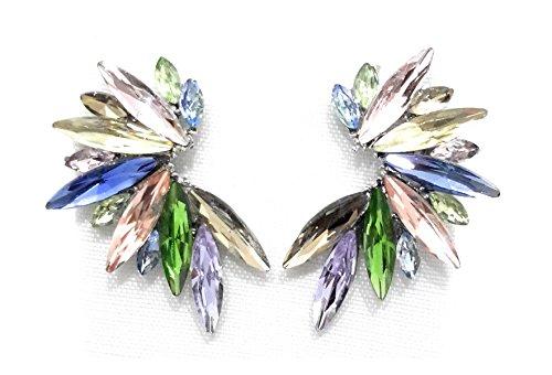 Pendientes cristales coloridos mujer alta bisutería fiesta