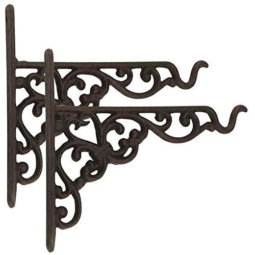 Dasing Juego de 2 perchas de hierro fundido para colgar macetas con tornillos, soportes de pared de metal vintage para comederos de pájaros, macetas, faroles, campanillas de viento, soportes de pared