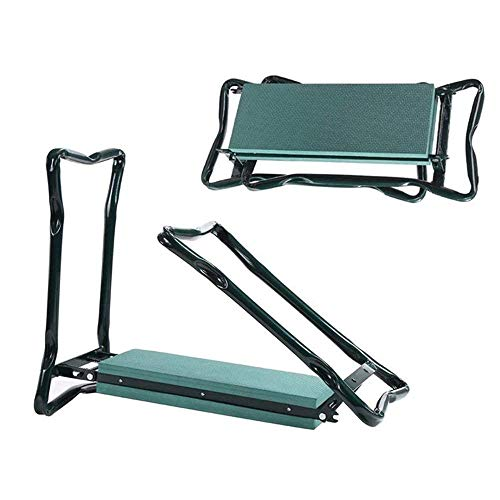 MPZZ Portable Garden Bench,with Kneeling Pad Garden Kneeler and Seat Foldable Stool for Easy Storage with 2 Large Tool Pouches,Easy Tool Storage