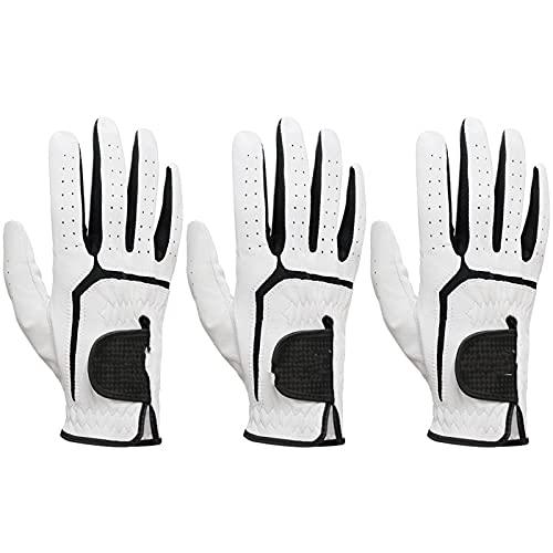 TTSJSM Golf Handschuh,Golfhandschuh Herren 3 stücke Mens Golfhandschuh Weiche Leder Komfortable Linke rechte Hand rutschfeste Golfhandschuhe für Männer (Color : Worn On Right Hand, Size : 23 Medium)