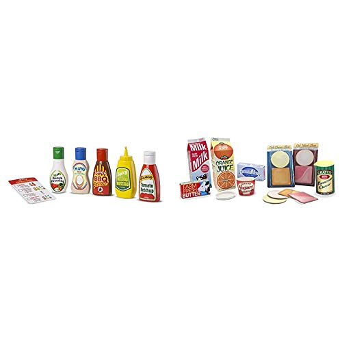 Melissa & Doug 5-Piece Favorite Condiments Play Food Set & Let's Play House Fridge Fillers (Pretend Play Grocery Toys, 20 Pieces, Great Gift for Girls and Boys - Best for 3, 4, 5, and 6 Year Olds)