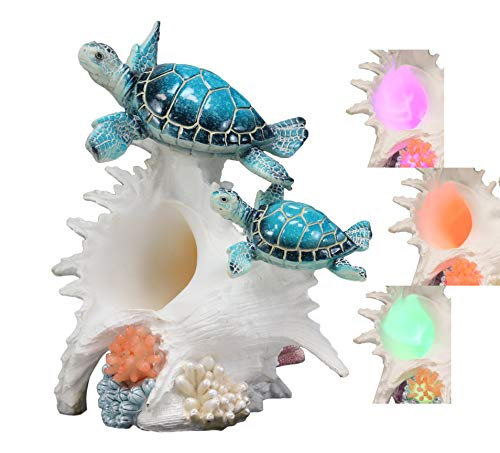Ebros Colorful Nautical Blue Sea Turtle Family Swimming Over White Ocean Conch with LED Light Statue 9.25