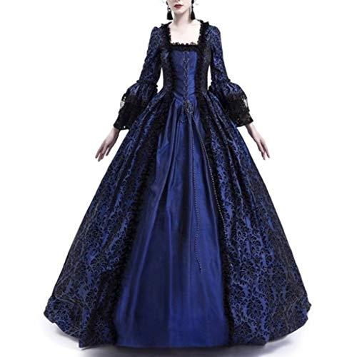 Reooly Moda Mujer Mujer Medieval Retro Princesa Renacimiento Cosplay Piso de Encaje Cuello Cuadrado Vestido Largo