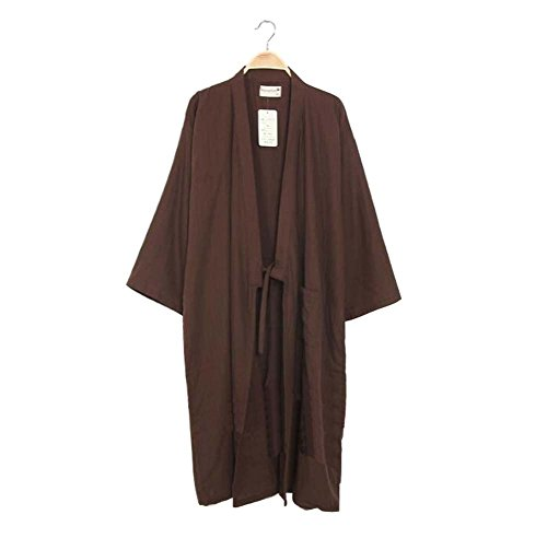 Black Temptation Albornoz Kimono Robe de la Bata de Dormir del Estilo japonés de los Hombres (Fino), A15