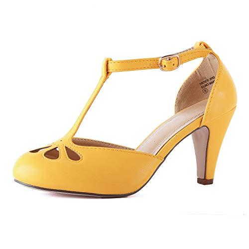 Chase & Chloe Kimmy-36 Women's Teardrop Cut Out T-Strap Mid Heel Dress Pumps,Light Gold,8.5