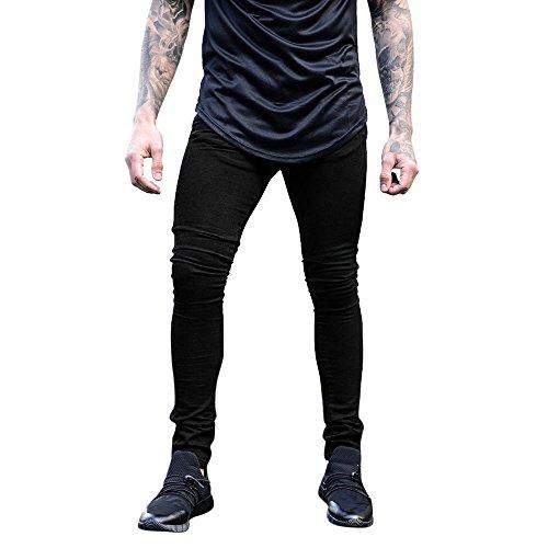 Hommes Denim Jeans Coupe Slim Chino De Base Occasionnels Pantalon,Pantalon Slim en Denim Extensible pour Hommes Pantalon Long Et DéContracté Jeans Skinny(Noir,S)