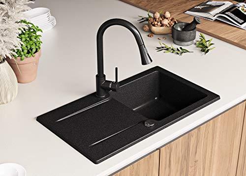 Granitspüle mit Siphon San Francisco Einbauspüle Spülbecken Graphit Küchenspüle Unterschrank Küche ab 45cm Spüle aus Granit mit Ablaufgarnitur Drehexcenter und Überlauf von Primagran