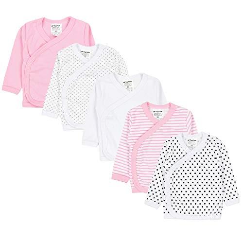 TupTam Baby Mädchen Langarm Wickelshirt Baumwolle 5er Set, Farbe: Mehrfarbig 6, Größe: 74