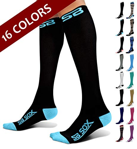 SB SOX Compression Socks (20-30mmHg) for Men & Women - Best Stockings for Running, Medical, Athletic, Edema, Diabetic, Varicose Veins, Travel, Pregnancy, Shin Splints (Black/Blue, Medium)