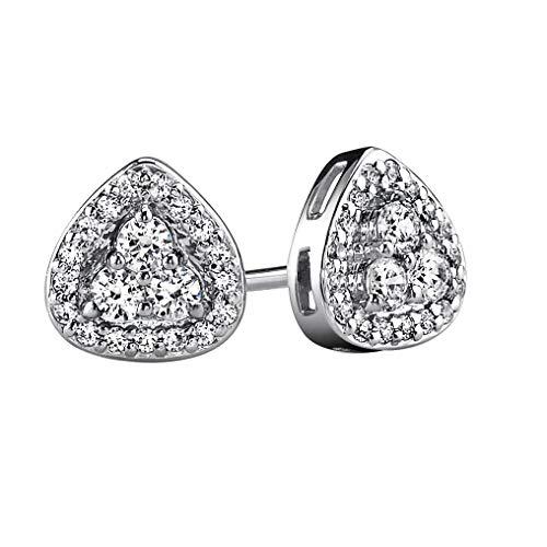 Ani's Pendientes para mujer de 0,28 quilates con forma triangular y diamantes de circonita cúbica en plata chapada en oro de 14 quilates.
