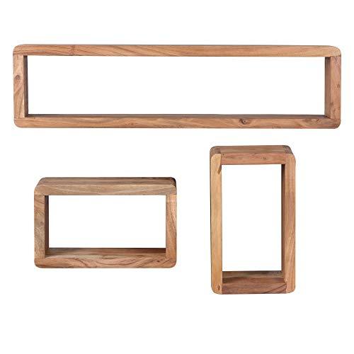 FineBuy 3er Set Wandregale Massiv-Holz Akazie Holz-Regal Landhaus-Stil Hängeregal Echt-Holz Design Wand-Board Natur-Produkt Wandkonsole dunkel-braun unbehandelt Regale zum Aufhängen Unikat Ablage