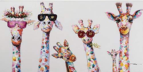XIANRENGE Ölgemälde Auf Leinwand Handgemalt,Persönlichkeit Farbenfrohe Giraffe Tier Gemälde Malerei,Moderne Abstrakte Wall Art Pop Bild,Für Wohnzimmer Schlafzimmer Wand Dekor,40×80Cm Rahmenlos