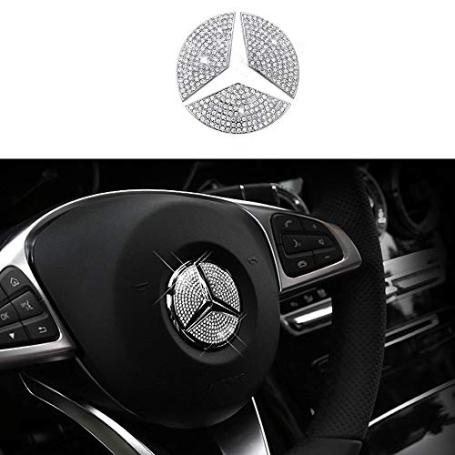 TopDall Steering Wheel Bling Crystal Emblem Accessory Interior Decal Sticker Compatible for Mercedes-Benz