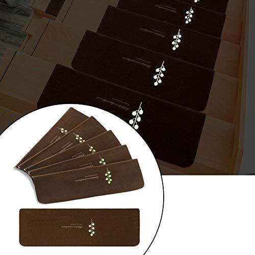 welltobuy 5 STÜCKE Packung Treppen Trittmatten Anti Skid Treppenmatte 55x22x4.5cm Leuchtend Nicht klebende Treppe Schutzpolster Teppich Pads, leicht zu reinigen
