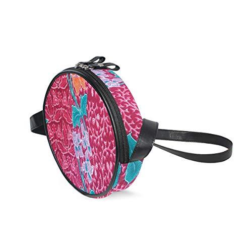 HATESAH Flores de colores en el estilo de impresión de imagen tradicional oriental de Batik balinés,Bolso de lona hombro para mujer Bolso de mensajero de lona casual anillo de hombro único