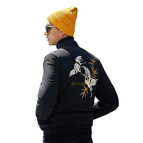 Vestes for Hommes Stylish Men Down Jacket en Coton d'hiver for Hommes De Tendance Brodé Hommes (Color : Black, Size : 180/XL)