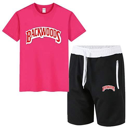 GIRLXV Camisa De Calle Hip-Hop De Algodón para Hombre De Verano Camiseta Backwoods Chaqueta Deportiva Pantalones Deportivos Pantalones Cortos De Cinco Puntos Traje L