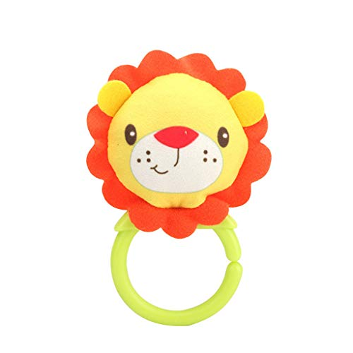 TANGTANGYI Baby Toy Cartoon Plush Ring Bell Hand Grasp Soft Mobile Infant Crib Doll Gifts Education Learning Bright Color Toddler Newborn Children Play Cute