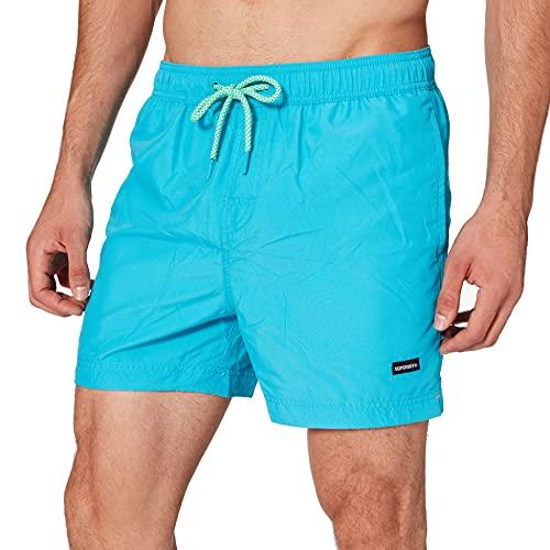 Superdry Mens Water Volley Swim Board Shorts, Ocean Blue, L