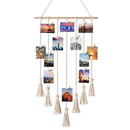 zunbo - Marco de fotos de macramé para colgar fotos, con 25 clips de madera (beige)