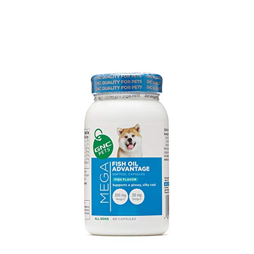 GNC Pets Mega Fish Oil Advantage for All Dogs - Fish Flavor, 90 Capsules, Supports Glossy Coat