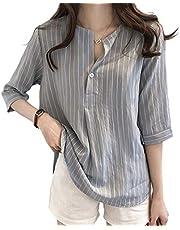 (ソングオブソング) シャツ ブラウス レディース ストライプ スリット 七分袖 ゆったり 大きいサイズ プルオーバー トップス お洒落 可愛い カジュアル ファッション 通勤 日常 夏 秋