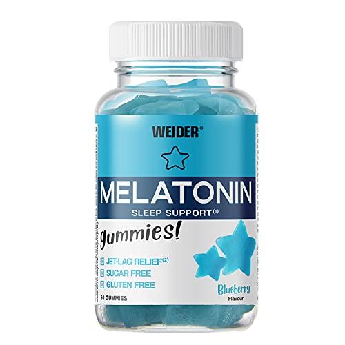 JOE WEIDER VICTORY Melatonine Up, 60 gummies, Sabor Blueberry, 1 mg de melatonina por gominola, Sin gluten y sin azúcar