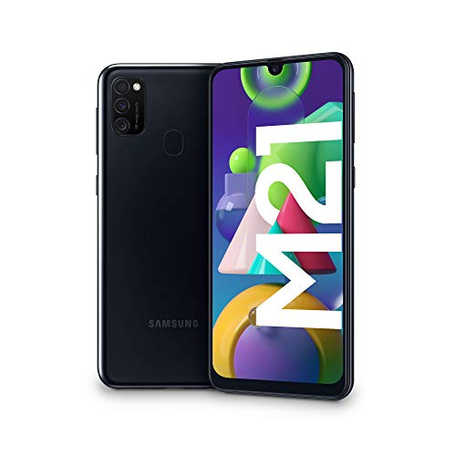 "Samsung Galaxy M21, Smartphone, Display 6.4"" Super AMOLED, 3 Fotocamere Posteriori, 64GB Espandibili, RAM 4 GB, Batteria 6000 mAh, 4G, Dual Sim, Android 10, 188 g, [Versione Italiana], Black"