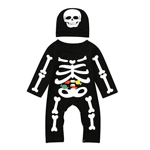 POLP Niños Halloween Conjuntos Unisex Monos Mameluco y Sombrero Niñas 2 años Disfraz Halloween Estampado de Esqueleto Bebe Niña Disfraz Halloween Party Pijama Bodies de Manga Larga Negro