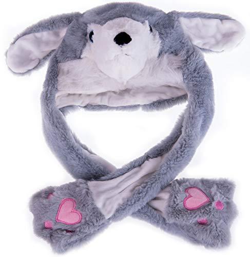 By Salti LED-Wackelohr Tiermütze Husky grau aus Plüsch für Kinder und Erwachsene