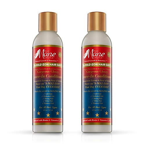 THE MANE CHOICE A-MAZ-ZON HAIR DAY - GORGEOUS GLOSSY LEAVE-IN CONDITIONER - Detangles and Conditions for Lasting Moisture - Infused with Biotin, Rose of Jerico, Amla Oil, Vitamins C,D,E (8 OZ) (Pack of 2)