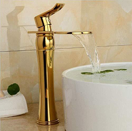 Grifo de Cocina, Grifo de baño dorado arte frío y caliente grifo de latón contemporáneo grifo de cascada