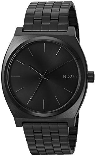 Nixon Time Teller Herrenuhr Analog Quarz mit Edelstahl Armband All Schwarz
