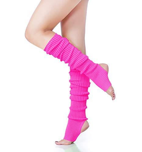 V28 Women's Neon Knit Leg Warmer for 80s Party Dance Sports Yoga (61-Rose)
