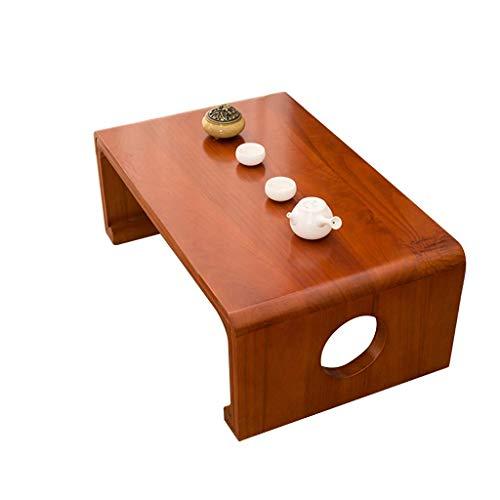 Meetgg - Tavolini in legno massiccio per tè, tavolo giapponese, tavolo piano, balcone, finestra, soggiorno, antico, colore: rosso e marrone, dimensioni: 60 x 40 x 30 cm