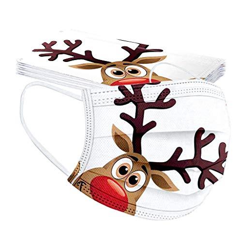 Weihnachten Erwachsene Einweg Mundschutz Mehrfarbig Print Mund und Nasenschutz Staubschutz Atmungsaktive Gesichtsschutz Bandana Loop Halstuch für Erwachsene 10 pcs (color 34)