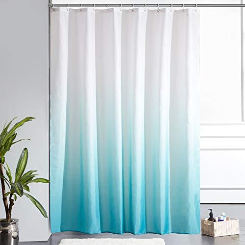 Furlinic Duschvorhang 180x200cm Textile Gardinen aus Stoff Wasserdicht Anti-schimmel Waschbar Badezimmer Vorhang für Bad in Badewanne Weiß nach Aquamarine mit 12 Duschringe.