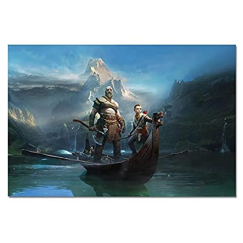 Dabbledown Impresión de Lienzo Póster de Pared de God of War 4 Kratos y Atreus, pósteres de Videojuegos, Impresiones, Imagen de Pared, decoración de habitación, Obra de Arte 60X90CM
