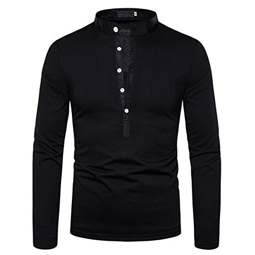 Herren Hemd Basic Langarm V-Ausschnitt Knopf Einfarbig Leichtes Tops Slim Fit T-Shirt Mode Atmungsaktives Bluse...